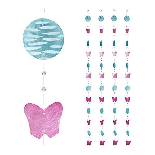 Relaxdays Capiz Girlande 4er Set, für Fenster, Balkon, Tür, Muschelplättchen Vorhang, Butterfly Dekoketten, pink-blau, 4 Stück