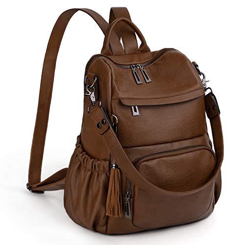 UTO Women Backpack Purse PU Leather Convertible Ladies Rucksack Tassel Zipper Pocket Shoulder Bag Brown
