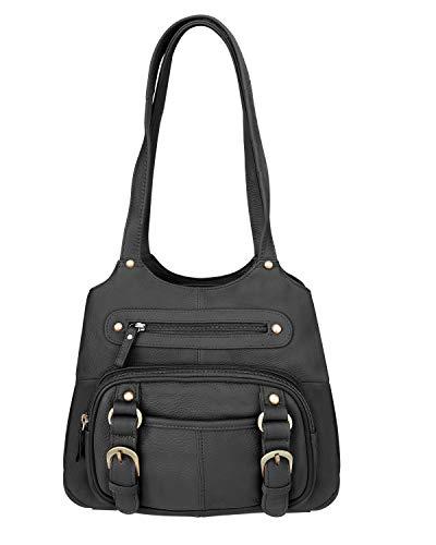 Roma Leathers Black Leather Pistol Concealment Shoulder Bag (Black)