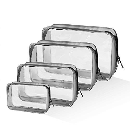 Trousse da bagno trasparente, 4 pezzi, impermeabile, in PVC, multifunzione, kit da viaggio liquidi, TSA l'aereo, per uomini, donne, bambini, famiglia multi-taglie 3-1-1 (piccolo, medio, grande)