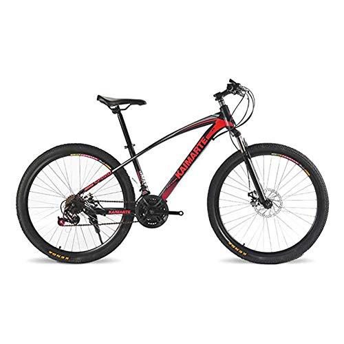 WJH 26 Zoll Mountainbike High Carbon Stahlrahmen Fahrrad-Doppelscheibenbremsen Fahrradspeichen-Rad Off-Road-Fahrrad, Männer im Freien Reiten oder Fahren, 21Speed Rot,24 Inch 21Speed