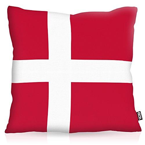 VOID Dänemark Danmark Polyester Kissenbezug Flagge Fahne Fan-Kissen Kissenhülle Outdoor Indoor Bunt, Kissen Größe:40 x 40 cm