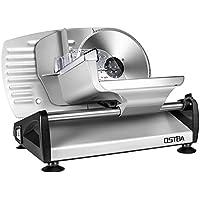 Cortafiambres eléctrico, cuchilla de acero inoxidable, cortador de salchichas con grosor de corte ajustable (0 – 15 mm), máquina cortadora de queso, máquina de cortar pan, 150 W, plata, ostba