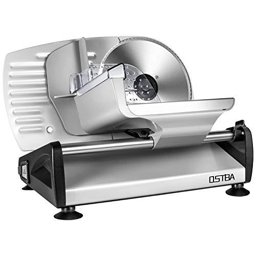Cortafiambres Eléctrico OSTBA, Maquina de Cortar Fiambre, 150W, Cuchillas de Acero Inoxidable, Sistema Protector de Manos, Sistema Extrafino de Corte para Embutido