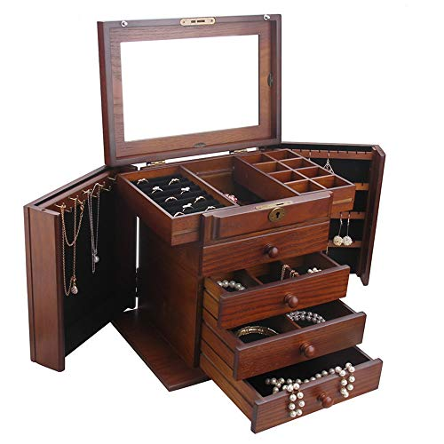 Jewelry Rack Personality Wooden Travel Case Jewelry Storage Box With Lock Girls And Women's Gift High Capacity (Color : Brown, Size : 30.5x21x27.5cm)