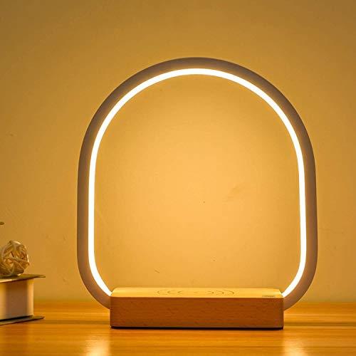 Diseño unico, Lámpara de noche LED Lámpara de mesa regulable Lámpara de madera con cargador inalámbrico, Dormitorio de lámpara de mesa de anillo blanco 5W con interruptor táctil y cambio de color, luz