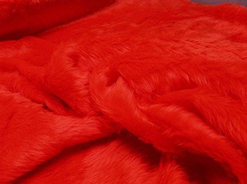 CRS Fur Fabrics Plain Fun Piel sintética Tela Material Brillante Rojo