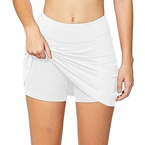 Fałszywy dwuczęściowy spódnica Hakama Spódnica Kobiet Plus Size Ołówek Spódnice Lekkie Damskie Running Tenis Golf Workout Sport Mini Spódnica 0430 (Color : White, Size : Large)