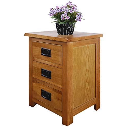 Mesita de noche de roble con 3 cajones, armario de pintura NC, tablero de madera de roble y madera...