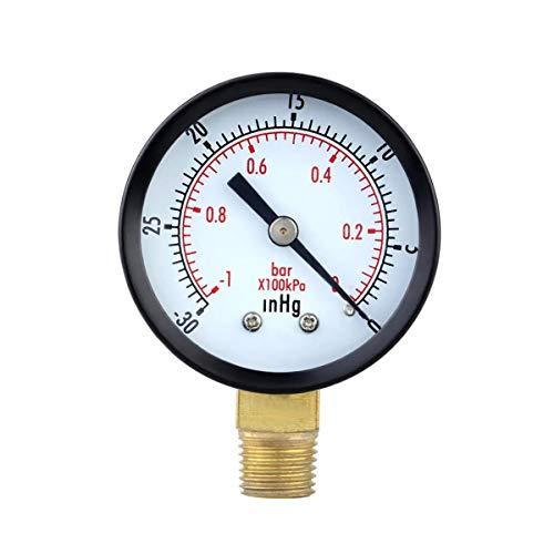 Ouuager-Home Druckregler TS-50-1 + 1 0 ~ -30inHg 0 ~ -1Bar Presuure Manometer 50mm Mini Luftvakuumdruckmessgerät Meter Manometer Drucktester Piezometer für Kompressor und Druckluftwerkzeuge