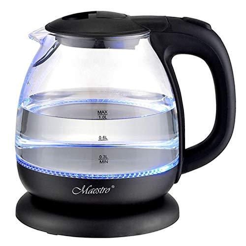Maestro MR055 Glas-Wasserkocher 1L mit Innenbeleuchtung Beleuchteter elektrischer Glaskessel Überhitzungsschutz 1100 W (Schwarz)