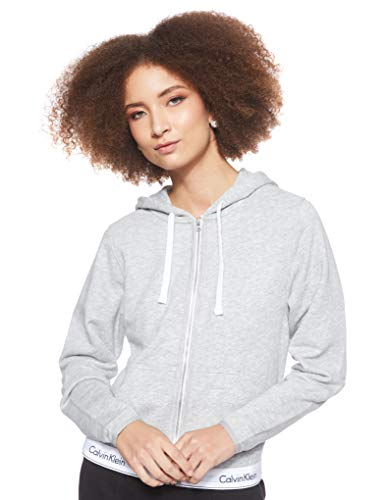 Calvin Klein Damen TOP Hoodie Full Zip Kapuzenpullover, Grau (Grey Heather 020), One Size (Herstellergröße: M)
