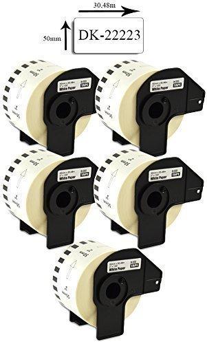 Bubprint 5 Etiketten kompatibel für Brother DK-22223 DK 22223 für P-Touch QL 500 550 570 700 710W 720NW 800 810W QL820NWB 1050 1060N 50mm x 30,48m Set