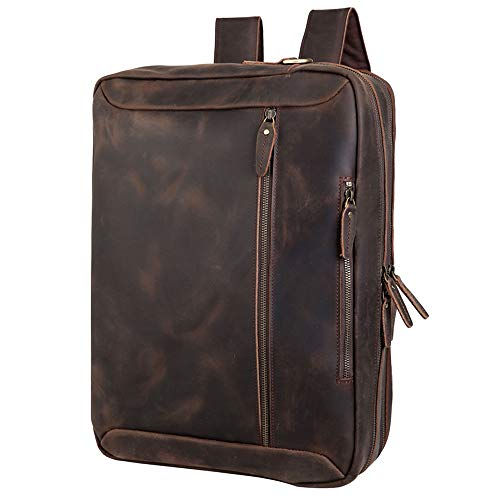Tiding Convertible Leather Briefcase Backpack 17 Inch Laptop Case Business Messenger Shoulder Bag with YKK Zipper