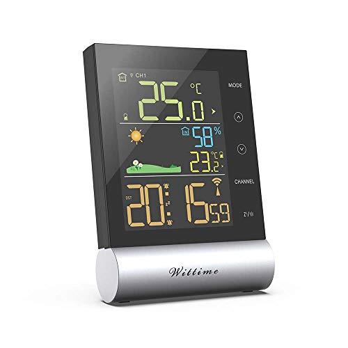 Wittime 2079A Digital Thermometer-Hygrometer für Innen und außen, Wetterstation Funk mit Außensensor, Raumfeuchtigkeit, DCF-Funkuhr Multifunktionale Funkwetterstation Thermometer Hygrometer