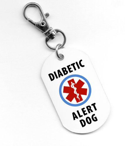 DIABETIC ALERT Service Dog 1 x 2 inch Aluminum Core Dog Tag 2-Sided