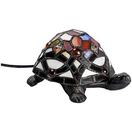 Arterameferro Lampe de table en forme de tortue, en laiton avec abat-jour en verre Tiffany.