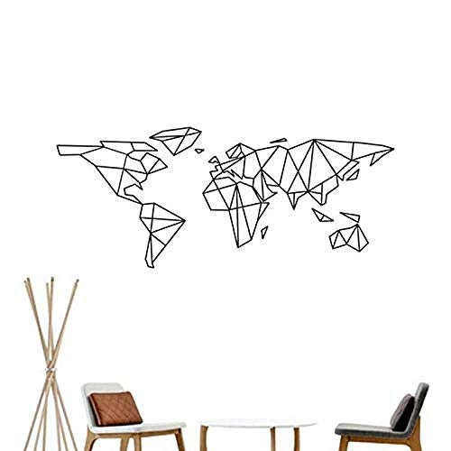 Wall Stickers,Geometric world map wall sticker vinyl decal sticker removable Hom Decor geometric map wall decal home decoration 96x42cm