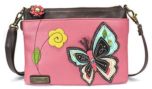 Chala Mini Crossbody Handbag, Pu Leather, Small Shoulder Purse Adjustable Strap (New Butterfly Pink)