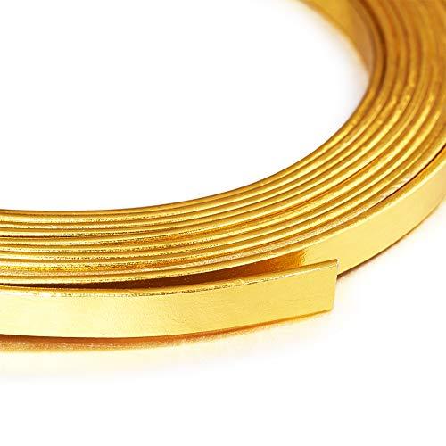 Cheriswelry Fil d'aluminium plat doré pliable en métal pour loisirs créatifs, 5mm Width
