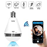 WiFi Security Light Bulb Camera, 360 Degree Panoramic 1080p IP Camera with IR Motion Detection,...