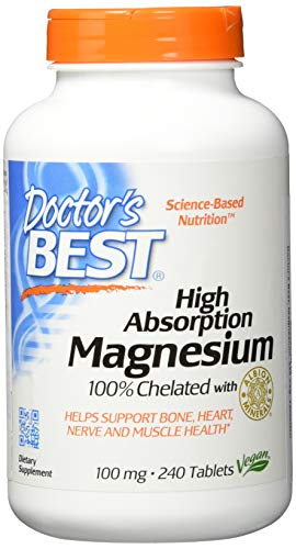 Doctor\'s Best High Absorption Magnesium 100{bc18388d6c014b7a7dab58fc7deb8dc8a56c6c0aa4803c456f61ed0761193a07} chelatiert mit TRAACS, 240 vegane Tabletten