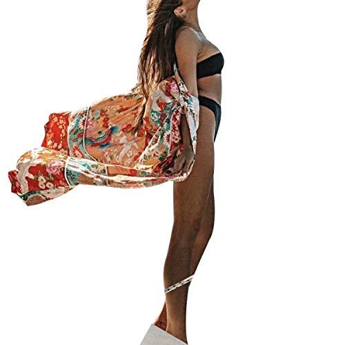 Frecoccialo - Kimono floral de muselina de seda para mujer, de verano, de manga larga naranja Talla única