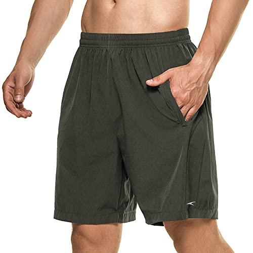 DAFENP Pantalones Cortos Hombre Deporte Running Shorts Deportivos Verano Ligero Secado Rápido Transpirable con Bolsillo con Cremallera DK1025M-ArmyGreen-L