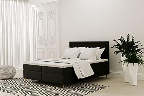 Cama con somier, cama de hotel,GOLDEN, cama continental, 140/160/180x200 cm, color crema/beige/negro/azul oscuro/gris claro, colchón Bonell, topper, costuras doradas (Cosmic 100 – negro, 140 x 200 cm)