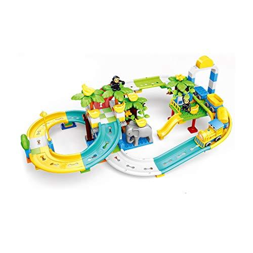 HXGL-juguete de coche Juego De Pistas para Niños Bloque De Construcción Toy Boy Diapositivas para Plástico Tren Eléctrico 3-5 Años (Tamaño : Zoo Track)