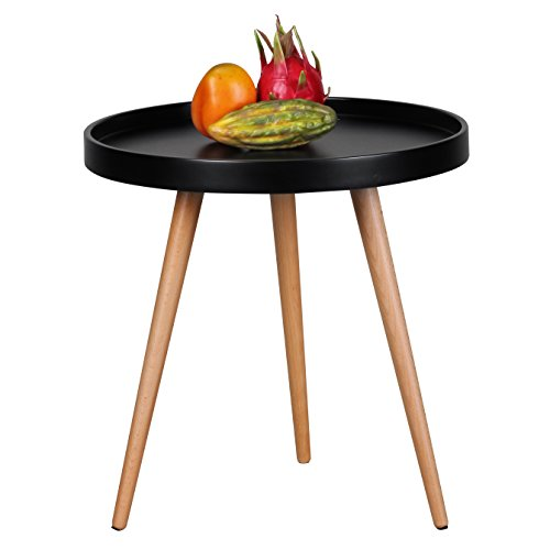 Wohnling Design salontafel Scanio, Ø 50 cm x 50 cm vorm rond Scandinavische retro look, mat gelakte woonkamertafel met houten frame, woonkamermeubelen tafel, driepoot bijzettafel, zwart