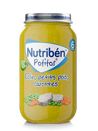 Nutribén Potitos Petit Pot Bébé, Colin, Petit Pois, Carottes, Repas pour Bébé, Dès 6 Mois, 235 g