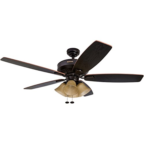 Honeywell Birnham 52-Inch Ceiling Fan with Tuscan Sand Light Shades, Five Reversible Blades, Cimmaron/Ironwood, Oil-Rubbed Bronze