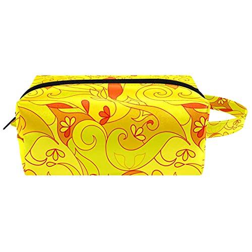 Bolsos de aseo abstractos amarillos de viaje bolsa de cosméticos para mujeres de microfibra de cuero de maquillaje práctico bolsa organizador con cremallera