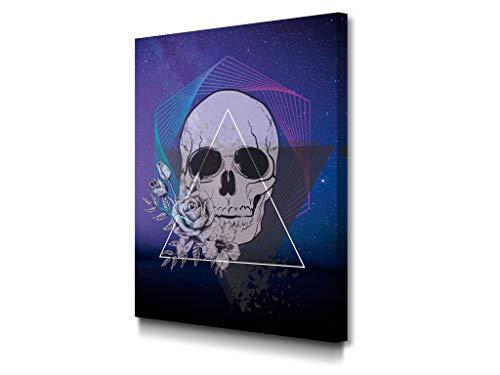 Foto Canvas Cuadro Calavera Decoración Pared Skull   Lienzos De Arte Moderno para El Hogar - Cuadros de Salón   30 x 40 cm Listos para Colgar sobre Bastidor De Madera Grueso