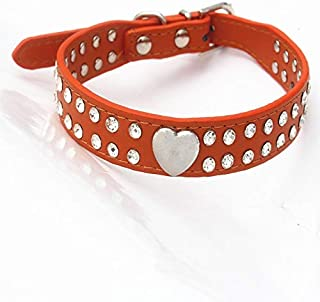 DHINGM Shiny Rhinestone Pet Collar, Glossy Peach Dog Collar, Cat and Dog Collar Pet Supplies, Elegant Appearance, Hand-Stitched, Durable, Beautiful and Durable (Color : Orange, Size : XS)