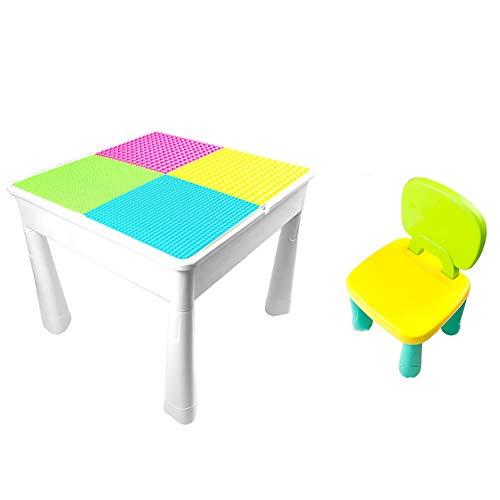 LWLEI Juego de Mesa de Actividades for niños múltiples con sillas 600 + Piezas de Bloques de construcción Mesa de Doble Cara for construcción, Aprendizaje, Escritura Durable