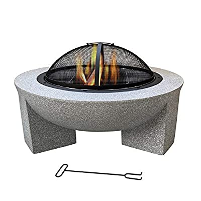 Large Round Fire Pit, Outdoor Heater Camping BBQ Grill Bowl Brazier Burner with Poker Grill Mesh Lid, for Outside Garden Patio Backyard, 75cm Diameter by LDIW