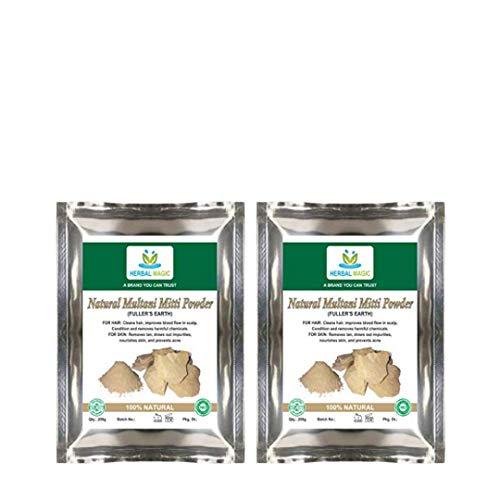 Herbal magic's 100% Pure & Natural 100g Organic fullers Earth (multani mitti - mud from Multan) Powder. Hibiscus Powder Free with Every Bundle (Organic Fullers Earth Powder - Pack 2)