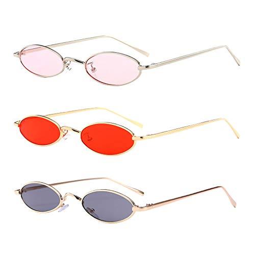 Amuzocity Gafas de Sol de Playa de Verano con Forma Ovalada de Moda Unisex de 3 Piezas