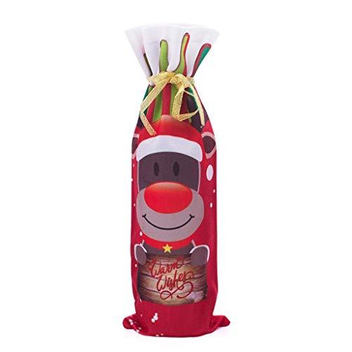 HEG Weihnachtsdekorationen kreativer Sankt-Schneemann Deer Wein-Set Cartoon Weihnachten Rotwein-Flasche Set Weinflasche Tasche Christbaumschmuck (Color : B)