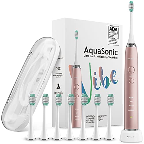 AquaSonic Vibe Series Ultra Whitening Toothbrush – ADA Accepted Electric Toothbrush - 8 Brush Heads & Travel Case - Ultra Sonic Motor & Wireless Charging - 4 Modes w Smart Timer – Satin Rose Gold