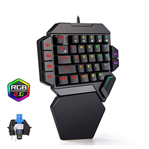 片手キーボード ゲーミングキーボード 片手 35キー防衝突 青軸 メカニカルタッチ RGB1680万色 9種類LEDバッ...