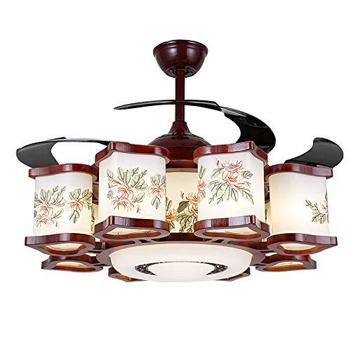 Luce Plafoniera Fashian china invisible luz de techo Ventilador Restaurante Sala ventilador mudo de luz LED de ahorro de energía Inicio remoto de control de sólidos de madera retro de la lámpara, diám