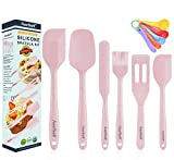 11in1 Silicone Baking Spatulas Utensils Set High Heat Resistant Non-Stick Silicone Rubber with Reinforced Metal Core BPA Free & Food Grade Macarons Pink