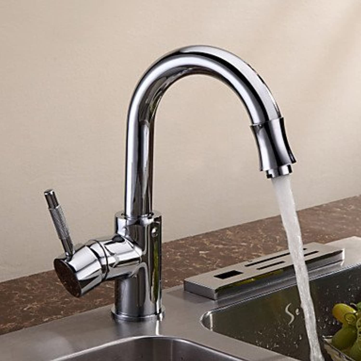Lozse Contemporary Chrome Finish Solid Brass Single Handle Kitchen tap