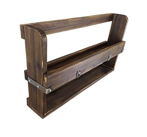 CHYRKA® Wandregal Regale KOSOW Gewürzregal Schweberegal Hängeregal Wandboard Holzregal Loft Vintage Bar IndustrieDesign Handmade Holz Metall (60x50 cm, Natur)