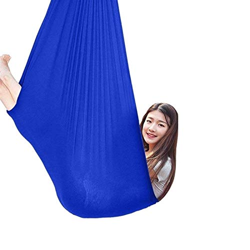 zyy Columpio De Terapia Elástica for Niños Abrazo Hamaca El Ideal for La Integración Sensorial Elástico Yoga Antigravedad hasta 440 Lbs (Color : Blue, Size : 150x280cm/59x110in)