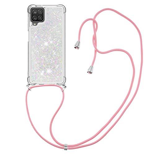 HülleLover Handykette Handyhülle für Samsung A12 5G, Glitzer Flüssig Bewegende Treibsand Transparent Silikon Hülle mit Kordel zum Umhängen Necklace Hülle Band für Samsung Galaxy A12 5G, Silber Rosa