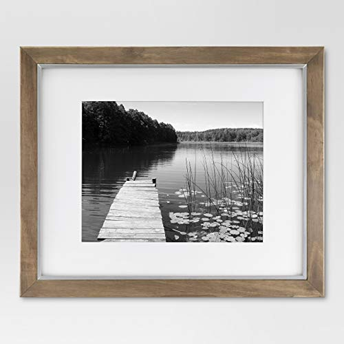 """16 x 20"""" Matted to 11"""" x 14"""" Wood and Metal Edge Frame Brown - Threshold™"""